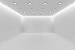 Еmpty white room with small round ceiling lamps. Abstract architecture white room interior - empty white room with white wall, white floor, white ceiling with Royalty Free Stock Photo