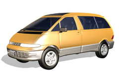 Mpv car. 3d mpv golden car isolated on white background Royalty Free Stock Images