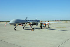 MQ-1 Predator Drone on display. ROCKFORD, IL- JUNE 2: MQ-1 Predator Drone being rolled into position as a static display for the June 2012 Rockford AirFest Royalty Free Stock Photo