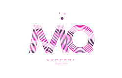 Mq m q alphabet letter logo pink purple line icon template vecto Royalty Free Stock Photography