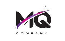 MQ M Q Black Letter Logo Design avec le bruissement magenta pourpre Images libres de droits