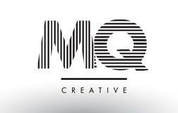 MQ M Q Black und weiße Linien Buchstabe Logo Design Lizenzfreie Stockfotos