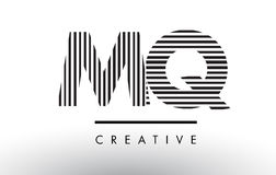MQ M Q Black and White Lines Letter Logo Design. Royalty Free Stock Photos