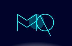 Mq m q blue line circle alphabet letter logo icon template vecto Stock Image