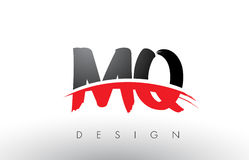 MQ M Q Brush Logo Letters with Red and Black Swoosh Brush Front Stock Photography
