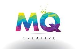 MQ M Q Colorful Letter Origami Triangles Design Vector. Stock Photos