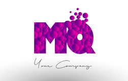 MQ M Q Dots Letter Logo with Purple Bubbles Texture. Royalty Free Stock Image