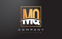 MQ M Q Golden Letter Logo Design with Gold Square and Swoosh. Royalty Free Stock Photos