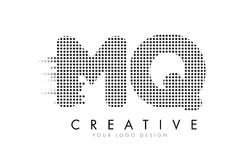 MQ M Q Letter Logo with Black Dots and Trails. Royalty Free Stock Photo
