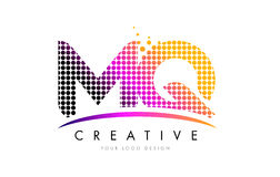 MQ M Q Letter Logo Design with Magenta Dots and Swoosh Stock Image