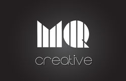 MQ M Q Letter Logo Design With White and Black Lines. Royalty Free Stock Images