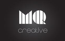 MQ M Q Letter Logo Design With White et lignes noires Images libres de droits