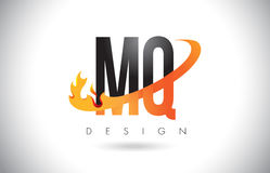 MQ M Q Letter Logo with Fire Flames Design and Orange Swoosh. Royalty Free Stock Photos