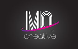 MQ M Q Letter Logo with Lines Design And Purple Swoosh. Stock Photos