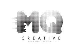MQ M Q Letter Logo med svartprickar och slingor Royaltyfri Foto