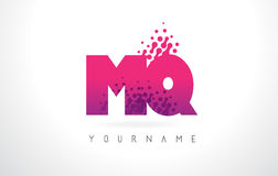 MQ M Q Letter Logo with Pink Purple Color and Particles Dots Des Stock Photos