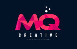 MQ M Q Letter Logo with Purple Low Poly Pink Triangles Concept Stock Photography