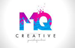 MQ M Q Letter Logo with Shattered Broken Blue Pink Texture Desig Royalty Free Stock Photography