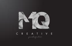 MQ M Q Letter Logo with Zebra Lines Texture Design Vector. Stock Photo