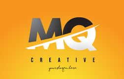 MQ M Q Letter Modern Logo Design with Yellow Background and Swoo Stock Image