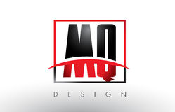 MQ M Q Logo Letters with Red and Black Colors and Swoosh. Royalty Free Stock Photos