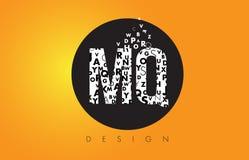MQ M Q Logo Made von kleinen Buchstaben mit schwarzem Kreis und gelbem B Stockfotografie