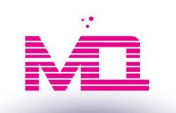 Mq m q pink purple line stripe alphabet letter logo vector templ Royalty Free Stock Image