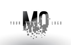 MQ M Q Pixel Letter Logo with Digital Shattered Black Squares Royalty Free Stock Image