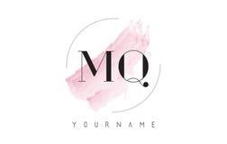 MQ M Q Watercolor Letter Logo Design avec le modèle circulaire de brosse Images libres de droits
