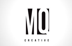 MQ M Q White Letter Logo Design with Black Square. Stock Photography