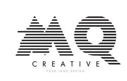 MQ M Q Zebra Letter Logo Design med svartvita band Fotografering för Bildbyråer