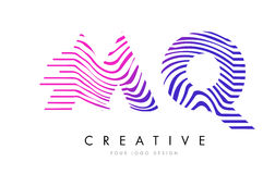 MQ M Q Zebra Lines Letter Logo Design with Magenta Colors Royalty Free Stock Photos