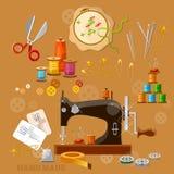 Máquina de coser de la costurera y del sastre Imagen de archivo