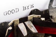 Máquina de escribir con el texto adiós Imagen de archivo libre de regalías