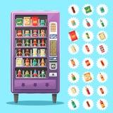 Máquina de venda automática com petiscos e bebidas Ilustração do vetor Imagens de Stock