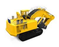 Máquina escavadora amarela isolada Imagem de Stock