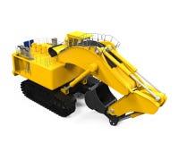 Máquina escavadora amarela isolada Foto de Stock
