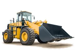 A máquina escavadora do carregador da roda isolou-se Imagem de Stock Royalty Free