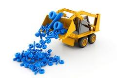 Máquina escavadora que despeja símbolos da porcentagem Imagens de Stock Royalty Free