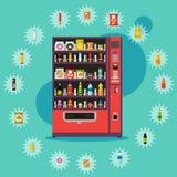 Máquina expendedora con los artículos del producto Ejemplo del vector en estilo plano Imagen de archivo libre de regalías