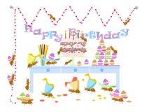 Mrówki świętują urodziny, wektor, tło Obraz Royalty Free