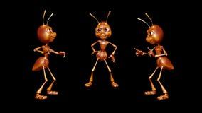 Mrówki 3D zabawy charakter 2 Wideo pętli na tle na Alfa kanale i - ilustracja wektor