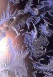 Mróz na okno tworzy ` sztuki Lodowy ` obraz stock