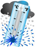 Mróz tworzy niską temperaturę więc termometr wybucha royalty ilustracja