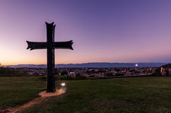 Cross on a Hilltop. A Cross on a hilltop. Placed in front of Bagrati Cathedral in Kutaisi, Georgia royalty free stock images