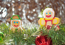 Mr And Mrs Snowman In Christmas Wreath Royalty Free Stock Image