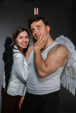 Mr. Angel and Mrs. Angel. Crazy character portrait stock image