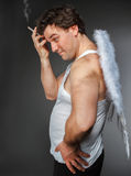 Mr. Angel with white wings Stock Images