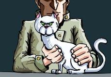 Mr Blofeld and his cat. Dark background Stock Photo