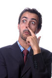 Mr. Bugger. Man with hand on nose Royalty Free Stock Photo